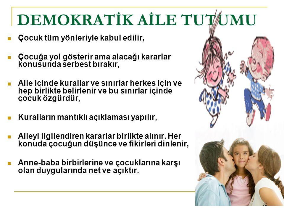 DEMOKRATİK AİLE TUTUMU Çocuk tüm yönleriyle kabul edilir, Çocuğa yol gösterir ama alacağı kararlar konusunda serbest bırakır, Aile içinde kurallar ve
