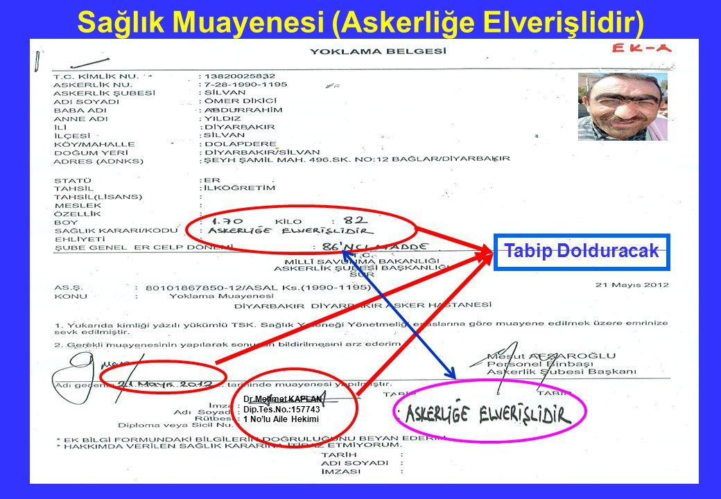 Dr.Mehmet KAPLAN Dip.Tes.No.:157743 1 No'lu Aile Hekimi Tabip Dolduracak Sağlık Muayenesi (Askerliğe Elverişlidir)