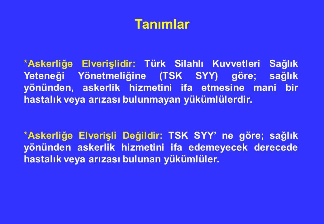 Tanımlar * Askerliğe Elverişlidir: Türk Silahlı Kuvvetleri Sağlık Yeteneği Yönetmeliğine (TSK SYY) göre; sağlık yönünden, askerlik hizmetini ifa etmes