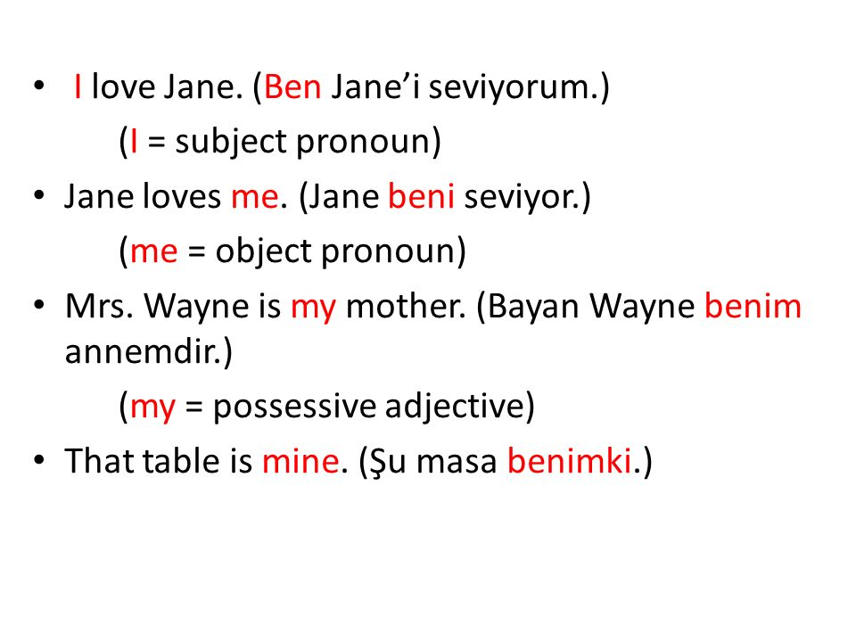 I love Jane.(Ben Jane'i seviyorum.) (I = subject pronoun) Jane loves me.