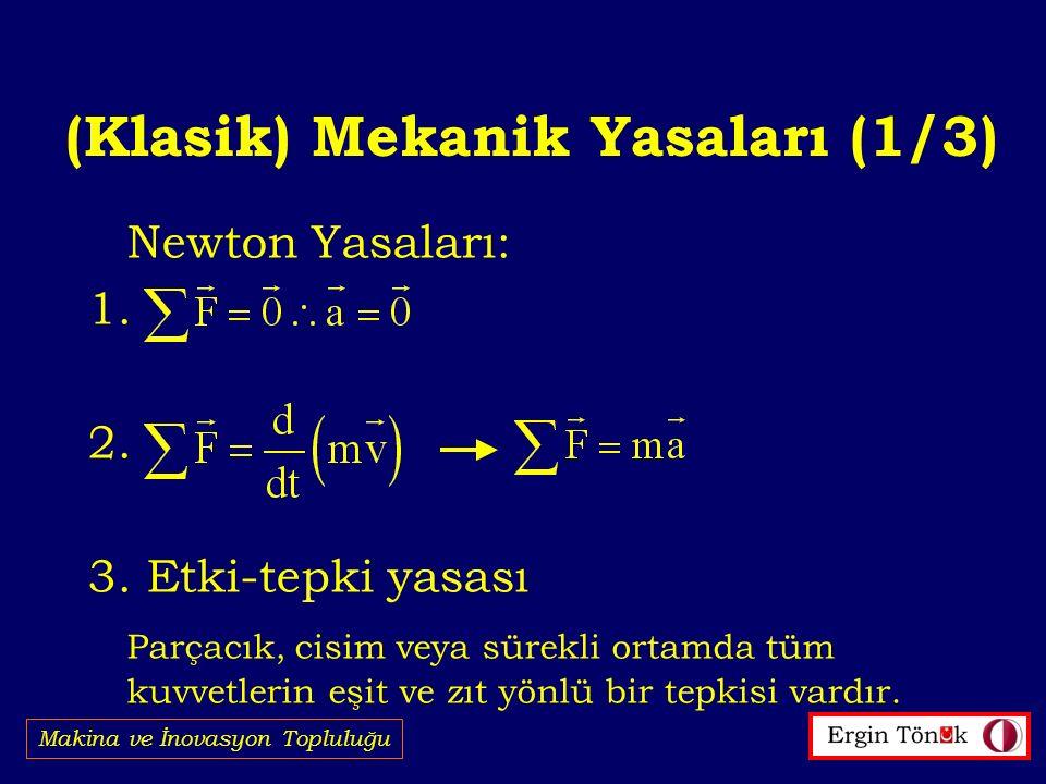 (Klasik) Mekanik Yasaları (1/3) Makina ve İnovasyon Topluluğu Newton Yasaları: 1.