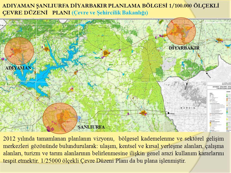ADIYAMAN ŞANLIURFA DİYARBAKIR PLANLAMA BÖLGESİ 1/100.000 ÖLÇEKLİ ÇEVRE DÜZENİ PLANI (Çevre ve Şehircilik Bakanlığı) ŞANLIURFA ADIYAMAN DİYARBAKIR 2012 yılında tamamlanan planlanın vizyonu, bölgesel kademelenme ve sektörel gelişim merkezleri gözönünde bulundurularak: ulaşım, kentsel ve kırsal yerleşme alanları, çalışma alanları, turizm ve tarım alanlarının belirlenmesine ilişkin genel arazi kullanım kararlarını tespit etmektir.