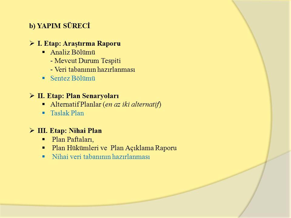 b) YAPIM SÜRECİ  I. Etap: Araştırma Raporu  Analiz Bölümü - Mevcut Durum Tespiti - Veri tabanının hazırlanması  Sentez Bölümü  II. Etap: Plan Sena