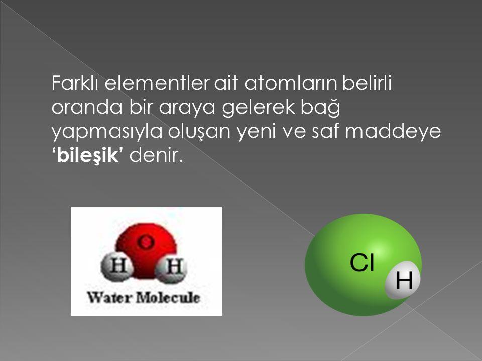 Farklı elementler ait atomların belirli oranda bir araya gelerek bağ yapmasıyla oluşan yeni ve saf maddeye 'bileşik' denir.