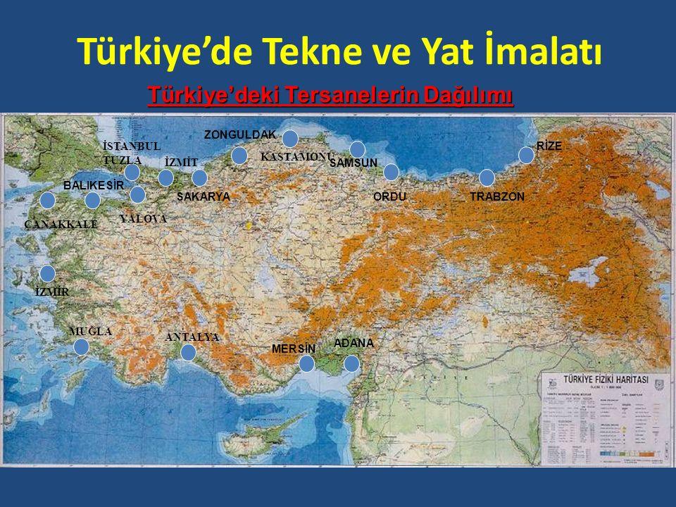 Türkiye'de Tekne ve Yat İmalatı Türkiye'deki Tersanelerin Dağılımı RİZE TRABZONORDU SAMSUN ZONGULDAK SAKARYA BALIKESİR ADANA MERSİN ÇANAKKALE İZMİR YA
