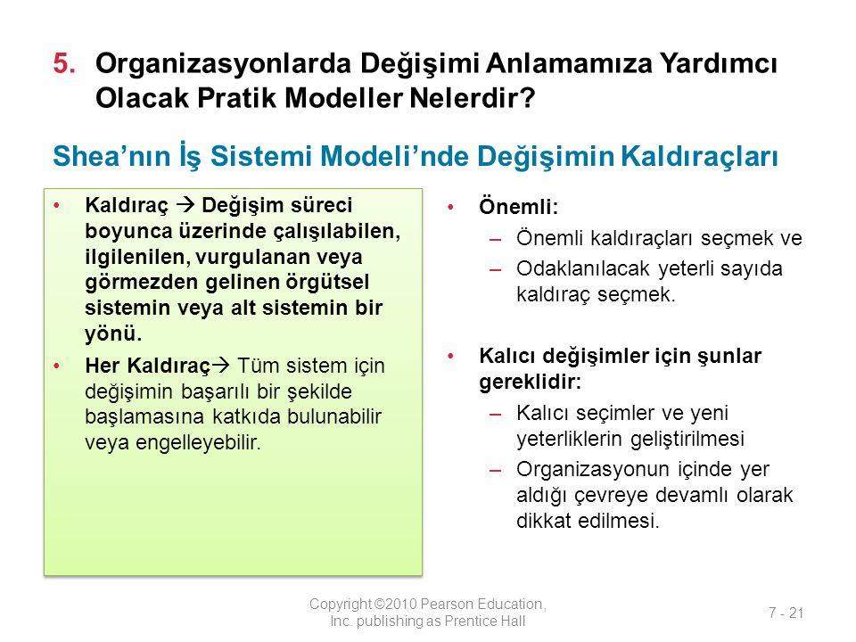 5.Organizasyonlarda Değişimi Anlamamıza Yardımcı Olacak Pratik Modeller Nelerdir? Kaldıraç  Değişim süreci boyunca üzerinde çalışılabilen, ilgilenile