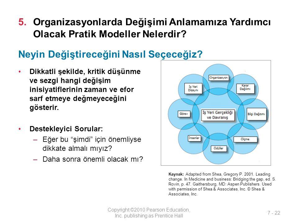 5.Organizasyonlarda Değişimi Anlamamıza Yardımcı Olacak Pratik Modeller Nelerdir? Dikkatli şekilde, kritik düşünme ve sezgi hangi değişim inisiyatifle