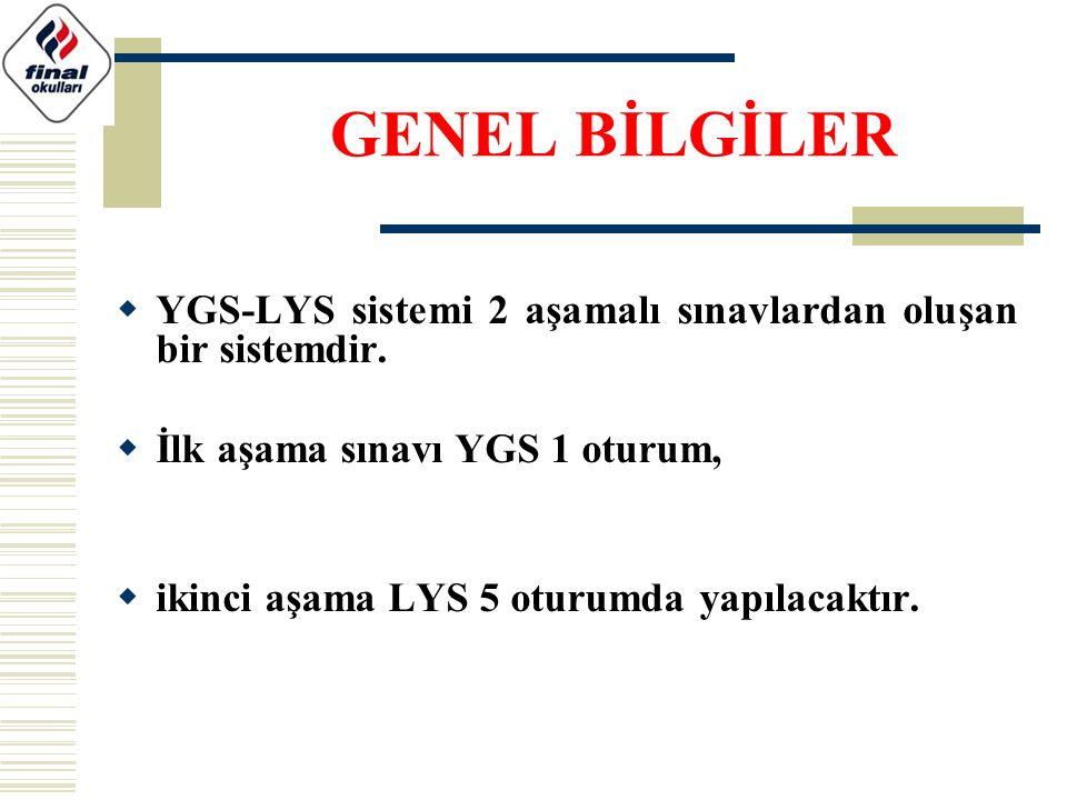 YGS-LYS sistemi 2 aşamalı sınavlardan oluşan bir sistemdir.  İlk aşama sınavı YGS 1 oturum,  ikinci aşama LYS 5 oturumda yapılacaktır. GENEL BİLGİ