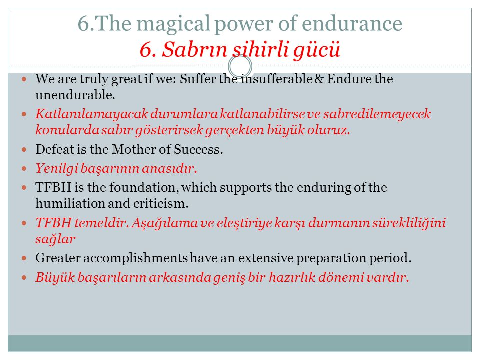 6.The magical power of endurance 6.