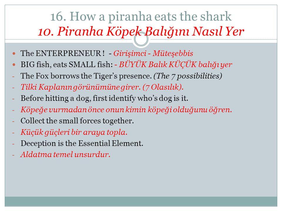 16. How a piranha eats the shark 10. Piranha Köpek Balığını Nasıl Yer The ENTERPRENEUR ! - Girişimci - Müteşebbis BIG fish, eats SMALL fish: - BÜYÜK B