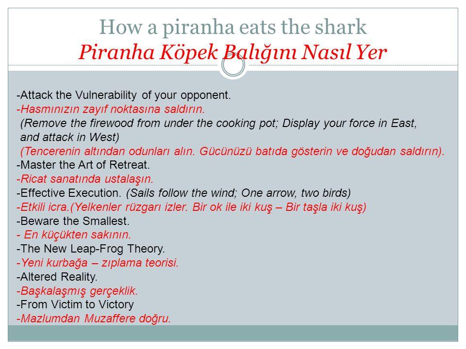 How a piranha eats the shark Piranha Köpek Balığını Nasıl Yer -Attack the Vulnerability of your opponent. -Hasmınızın zayıf noktasına saldırın. (Remov