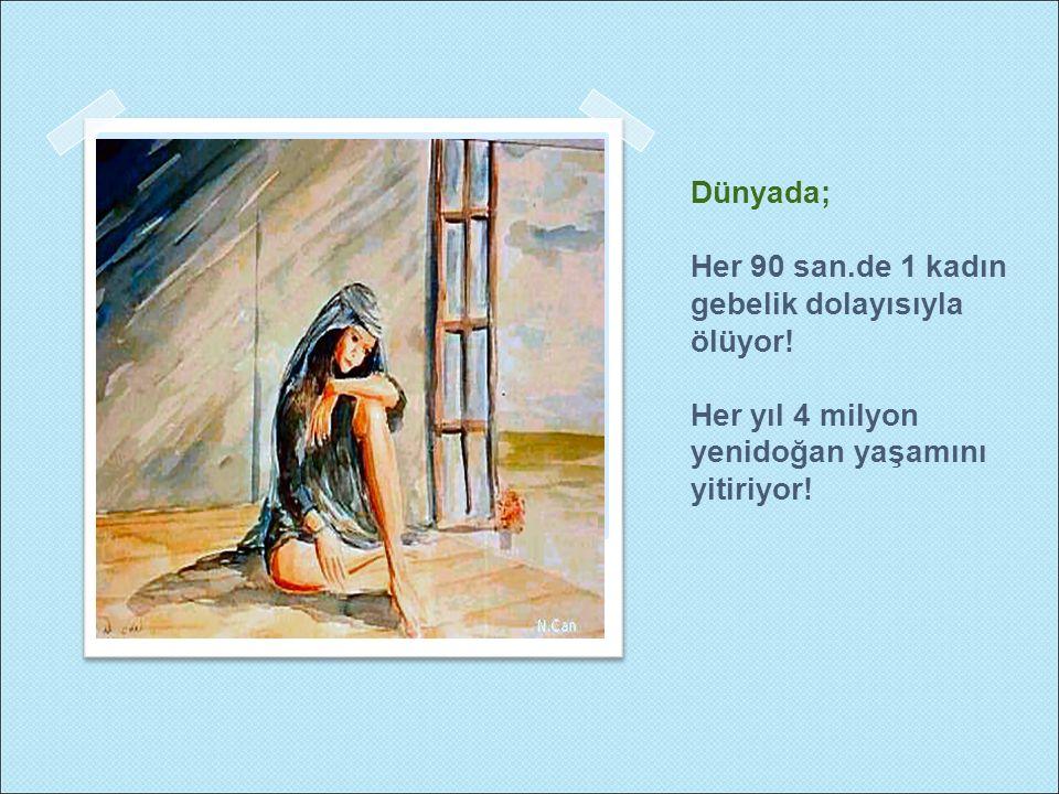 Dünyada; Her 90 san.de 1 kadın gebelik dolayısıyla ölüyor! Her yıl 4 milyon yenidoğan yaşamını yitiriyor!