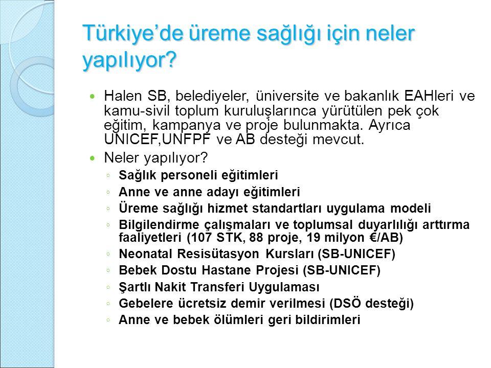 Türkiye'de üreme sağlığı için neler yapılıyor? Halen SB, belediyeler, üniversite ve bakanlık EAHleri ve kamu-sivil toplum kuruluşlarınca yürütülen pek
