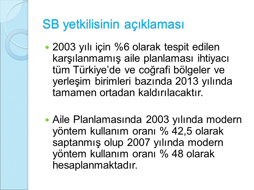 SB yetkilisinin açıklaması 2003 yılı için %6 olarak tespit edilen karşılanmamış aile planlaması ihtiyacı tüm Türkiye'de ve coğrafi bölgeler ve yerleşim birimleri bazında 2013 yılında tamamen ortadan kaldırılacaktır.