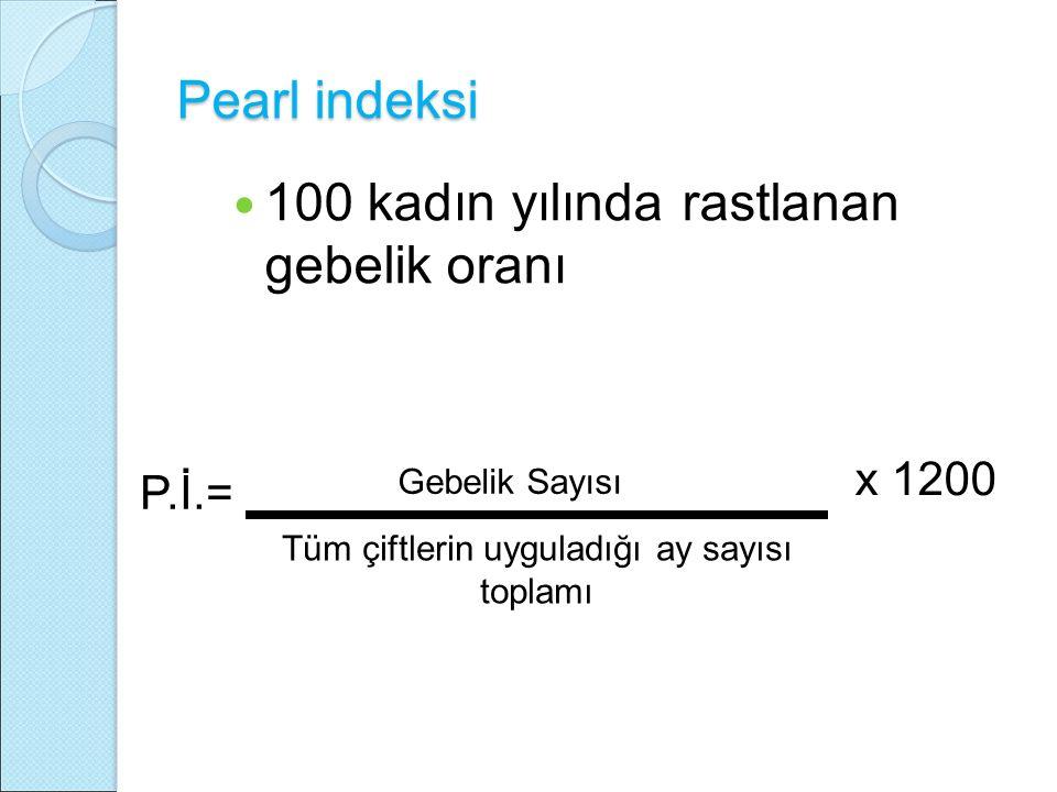 Pearl indeksi 100 kadın yılında rastlanan gebelik oranı Gebelik Sayısı x 1200 P.İ.= Tüm çiftlerin uyguladığı ay sayısı toplamı