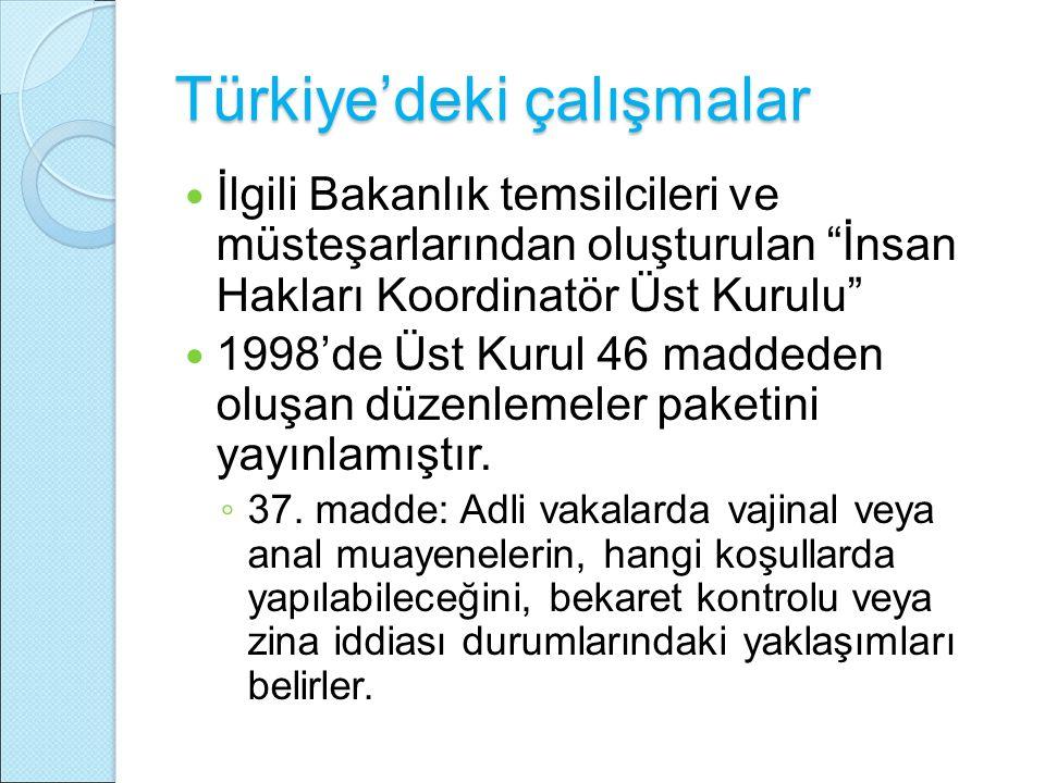 """Türkiye'deki çalışmalar İlgili Bakanlık temsilcileri ve müsteşarlarından oluşturulan """"İnsan Hakları Koordinatör Üst Kurulu"""" 1998'de Üst Kurul 46 madde"""