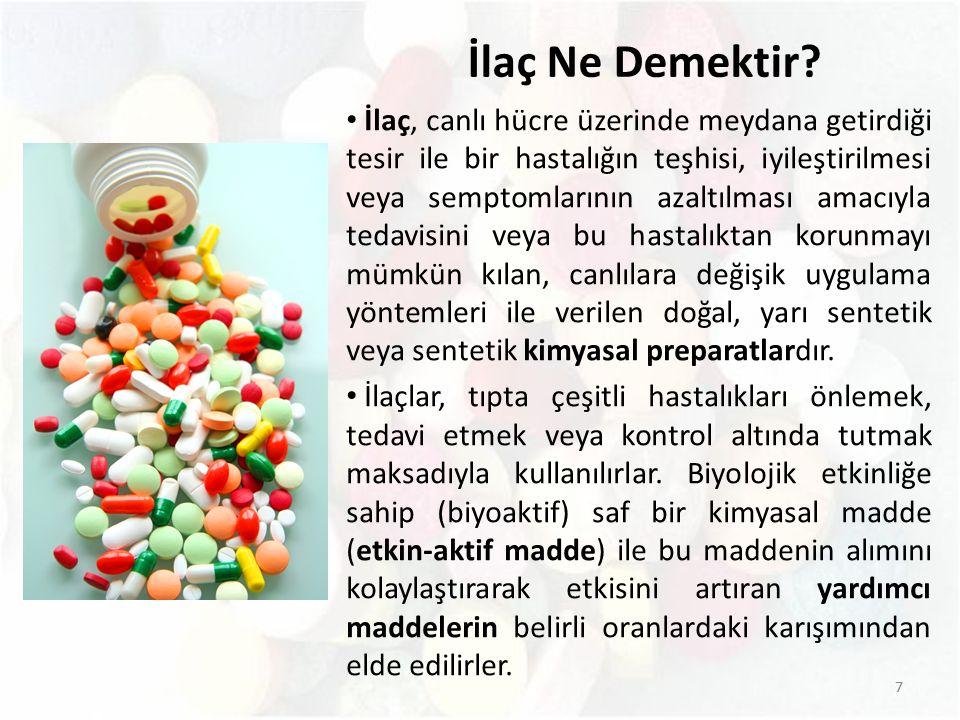 8 Yani kısaca ilaçlar iki kısımdan meydana gelmektedir: Etkin (aktif) madde (drog): Canlıda fizyolojik etki gösteren bir veya birkaç kimyasal madde karışımıdır.
