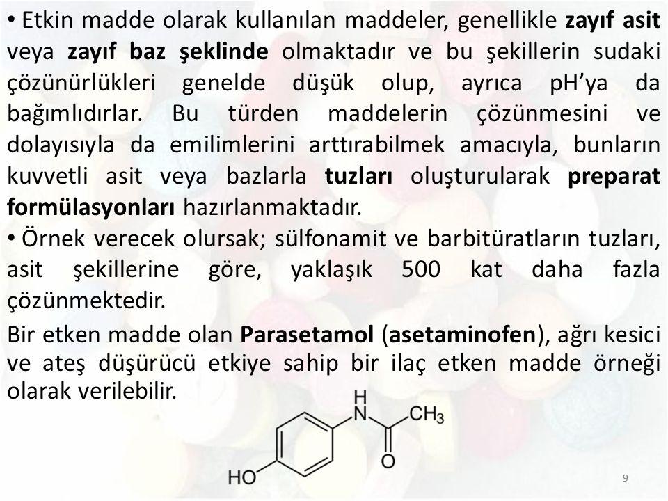 10 Parasetamol ağızdan alındığında gastrointestinal sistemde hızla emilir.