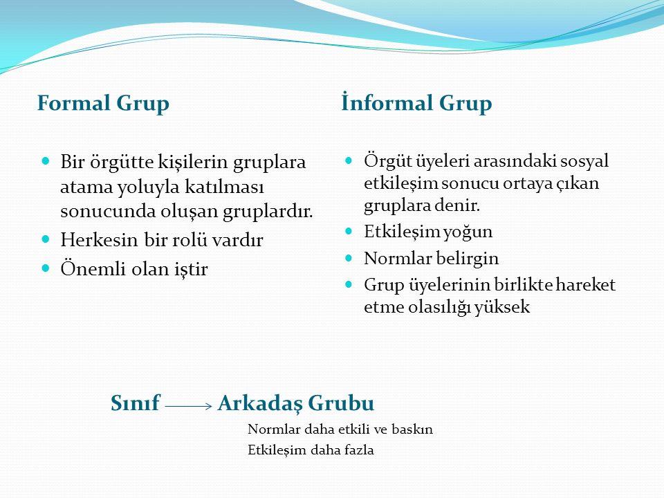 Formal Grup İnformal Grup Bir örgütte kişilerin gruplara atama yoluyla katılması sonucunda oluşan gruplardır. Herkesin bir rolü vardır Önemli olan işt
