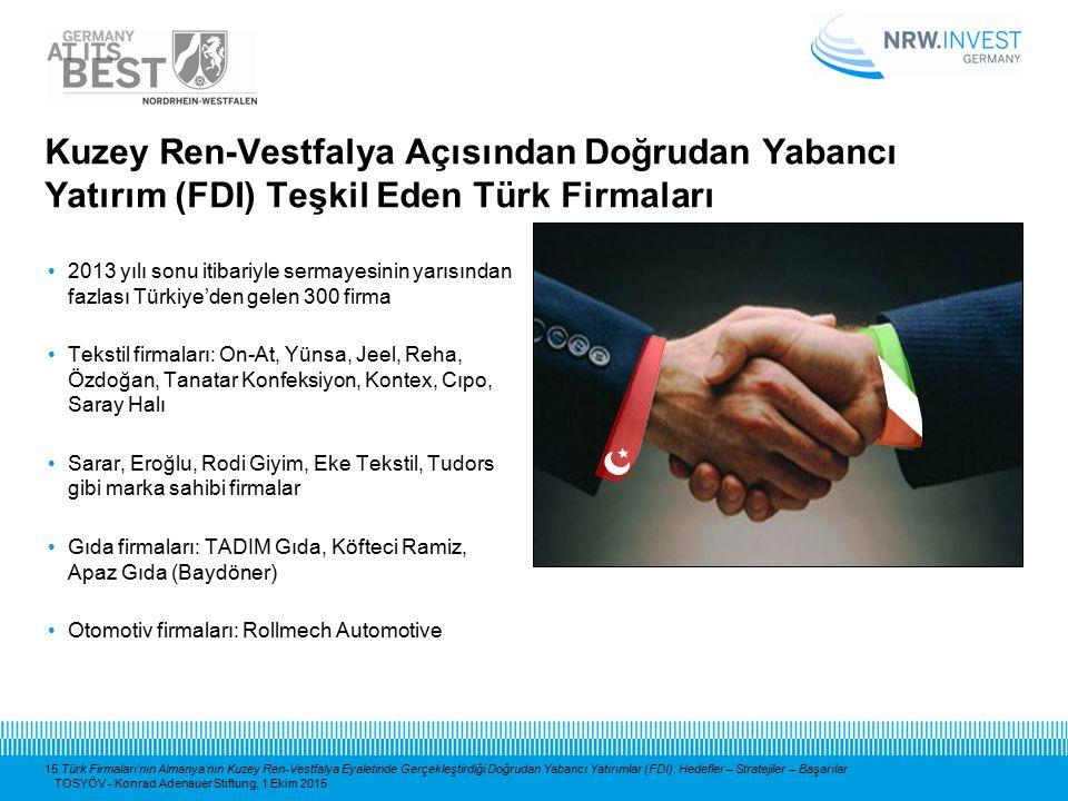 15 Türk Firmaları'nın Almanya'nın Kuzey Ren-Vestfalya Eyaletinde Gerçekleştirdiği Doğrudan Yabancı Yatırımlar (FDI): Hedefler – Stratejiler – Başarıla