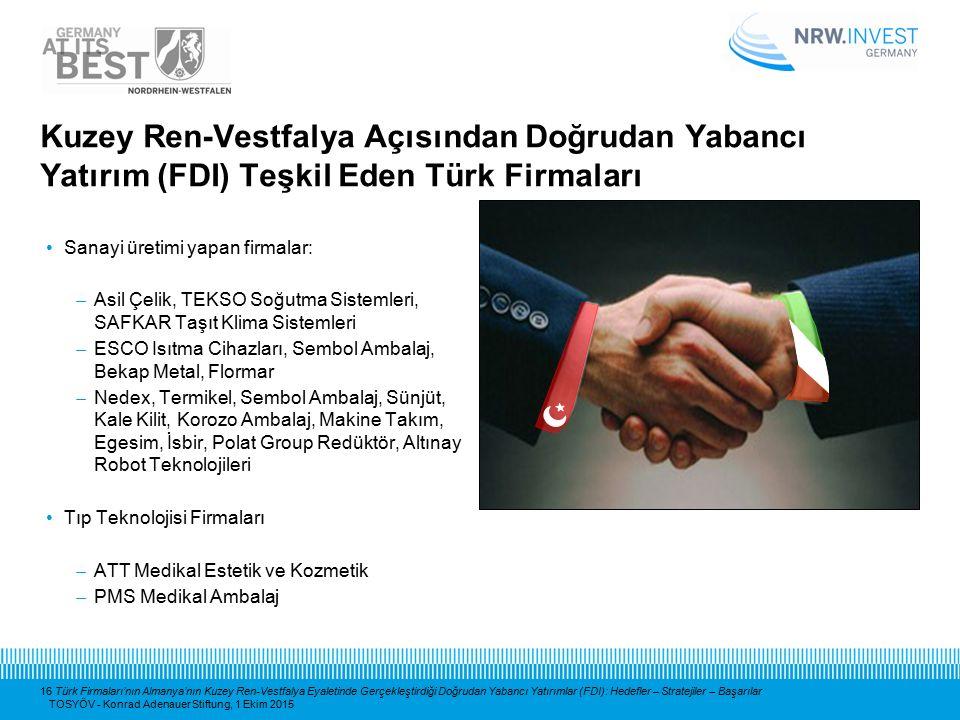 16 Türk Firmaları'nın Almanya'nın Kuzey Ren-Vestfalya Eyaletinde Gerçekleştirdiği Doğrudan Yabancı Yatırımlar (FDI): Hedefler – Stratejiler – Başarıla