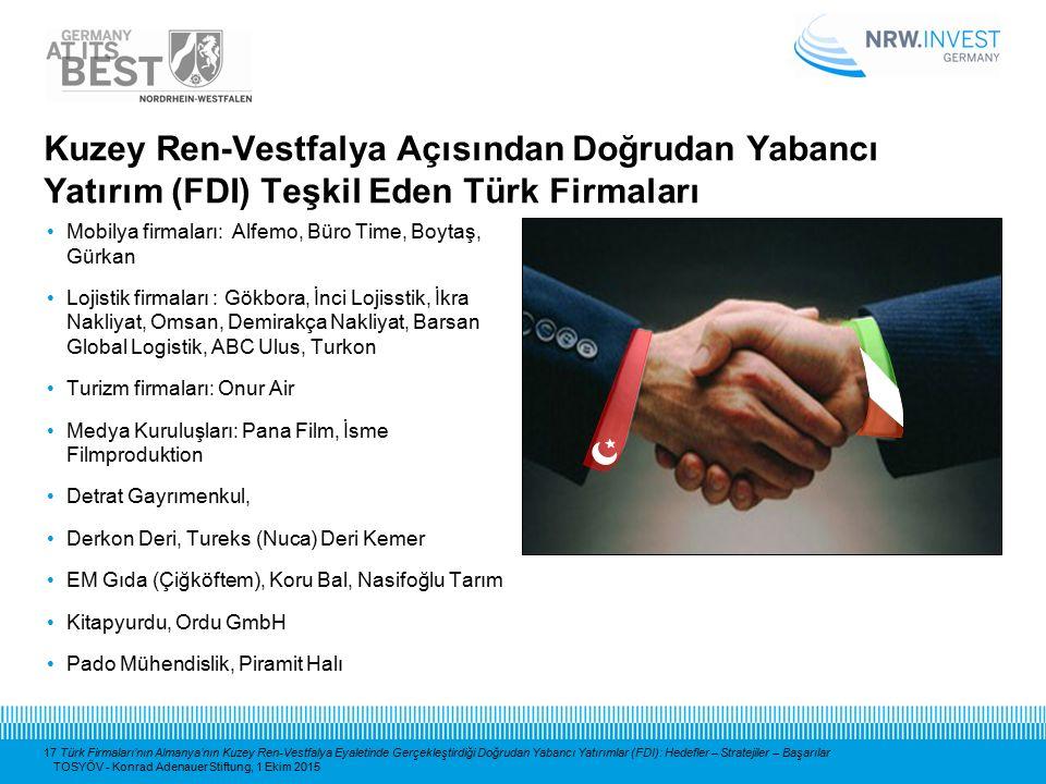 17 Türk Firmaları'nın Almanya'nın Kuzey Ren-Vestfalya Eyaletinde Gerçekleştirdiği Doğrudan Yabancı Yatırımlar (FDI): Hedefler – Stratejiler – Başarıla