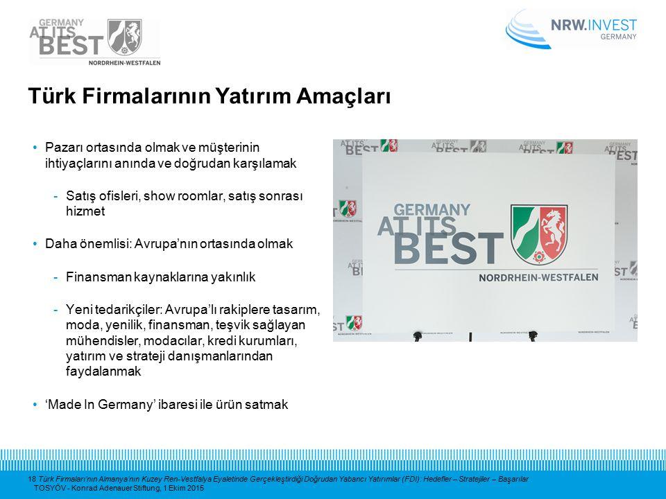 18 Türk Firmaları'nın Almanya'nın Kuzey Ren-Vestfalya Eyaletinde Gerçekleştirdiği Doğrudan Yabancı Yatırımlar (FDI): Hedefler – Stratejiler – Başarıla