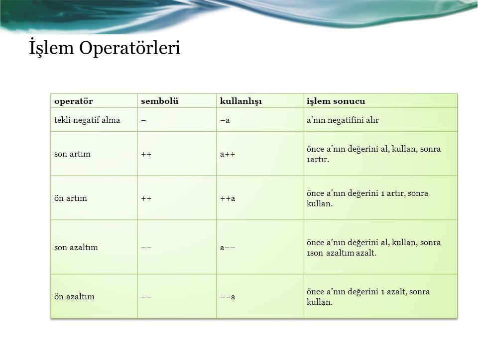 İşlem Operatörleri