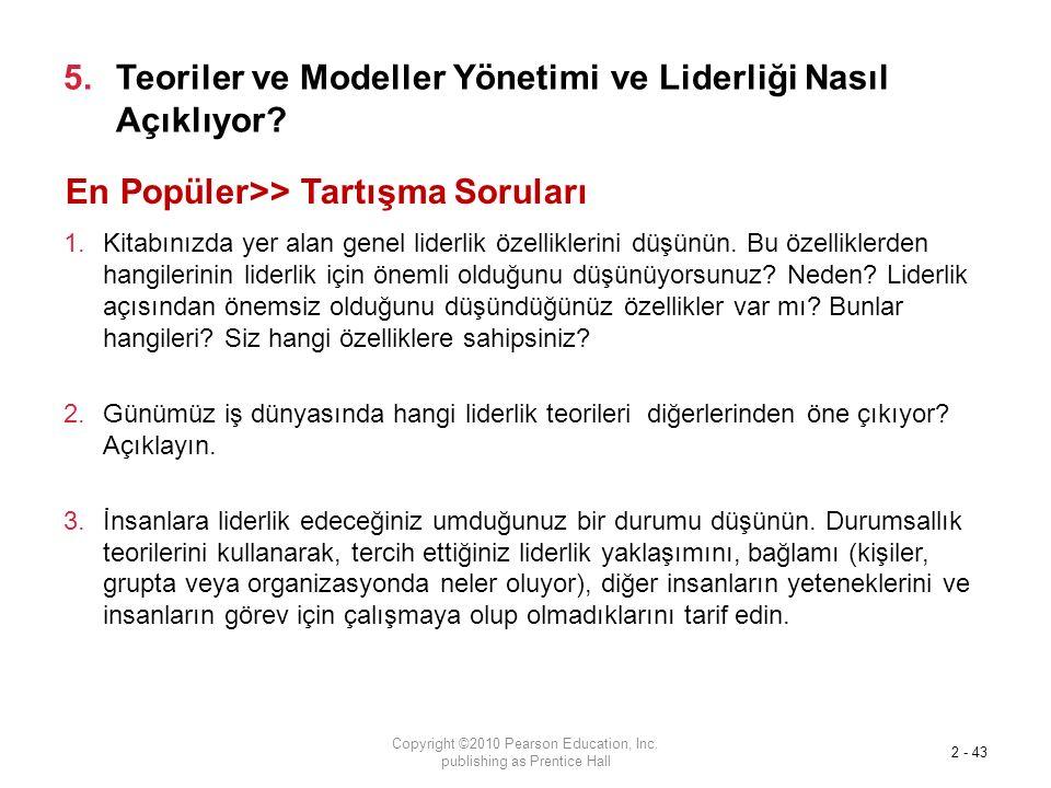 5.Teoriler ve Modeller Yönetimi ve Liderliği Nasıl Açıklıyor.