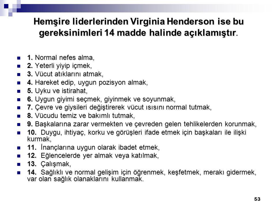 53 Hemşire liderlerinden Virginia Henderson ise bu gereksinimleri 14 madde halinde açıklamıştır Hemşire liderlerinden Virginia Henderson ise bu gereks