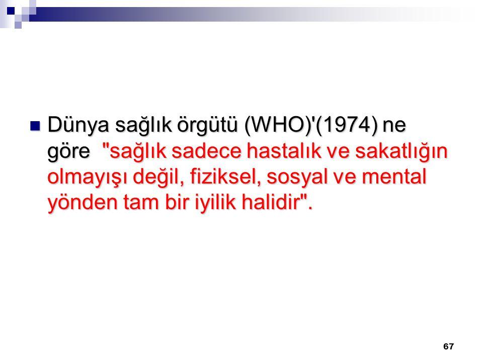 67 Dünya sağlık örgütü (WHO)'(1974) ne göre