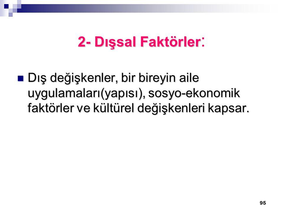 95 2- Dışsal Faktörler 2- Dışsal Faktörler : Dış değişkenler, bir bireyin aile uygulamaları(yapısı), sosyo-ekonomik faktörler ve kültürel değişkenleri