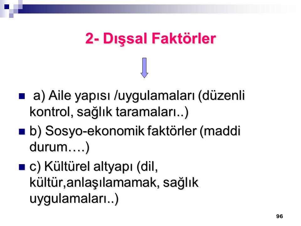 96 2- Dışsal Faktörler a) Aile yapısı /uygulamaları (düzenli kontrol, sağlık taramaları..) b) Sosyo-ekonomik faktörler (maddi durum….) b) Sosyo-ekonom