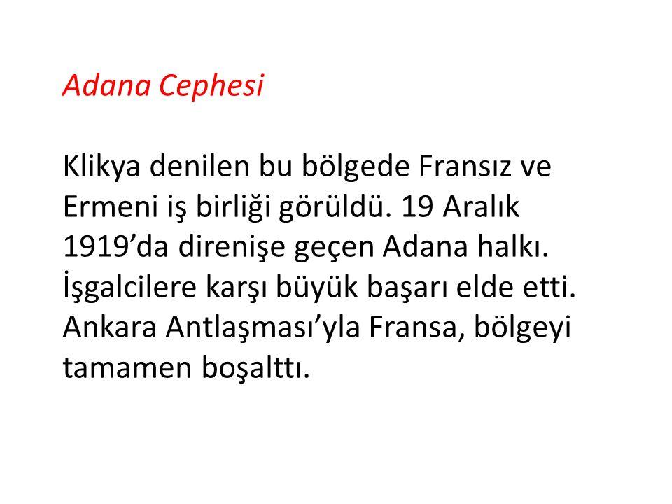 Adana Cephesi Klikya denilen bu bölgede Fransız ve Ermeni iş birliği görüldü. 19 Aralık 1919'da direnişe geçen Adana halkı. İşgalcilere karşı büyük ba