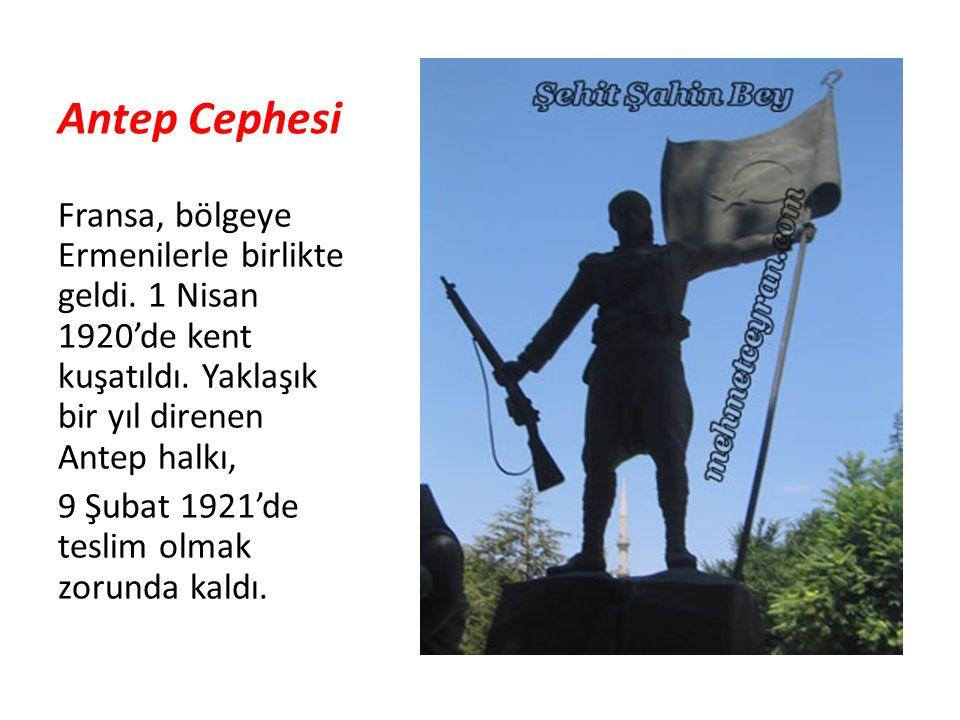 Antep Cephesi Fransa, bölgeye Ermenilerle birlikte geldi. 1 Nisan 1920'de kent kuşatıldı. Yaklaşık bir yıl direnen Antep halkı, 9 Şubat 1921'de teslim