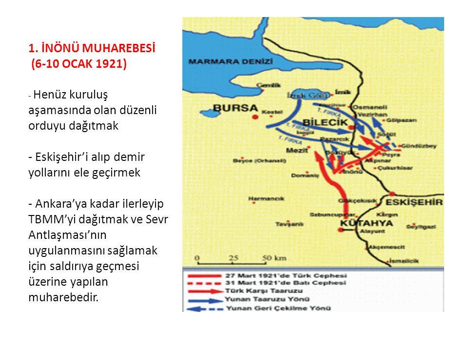 1. İNÖNÜ MUHAREBESİ (6-10 OCAK 1921) - Henüz kuruluş aşamasında olan düzenli orduyu dağıtmak - Eskişehir'i alıp demir yollarını ele geçirmek - Ankara'