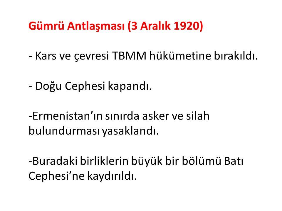 - TBMM'nin dış politikadaki etkinliğini arttırmasına bağlı olarak Kafkas Cumhuriyetleriyle 13 Ekim 1922'de Kars Antlaşması imzalandı.
