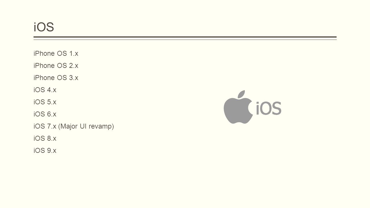 iOS iPhone OS 1.x iPhone OS 2.x iPhone OS 3.x iOS 4.x iOS 5.x iOS 6.x iOS 7.x (Major UI revamp) iOS 8.x iOS 9.x