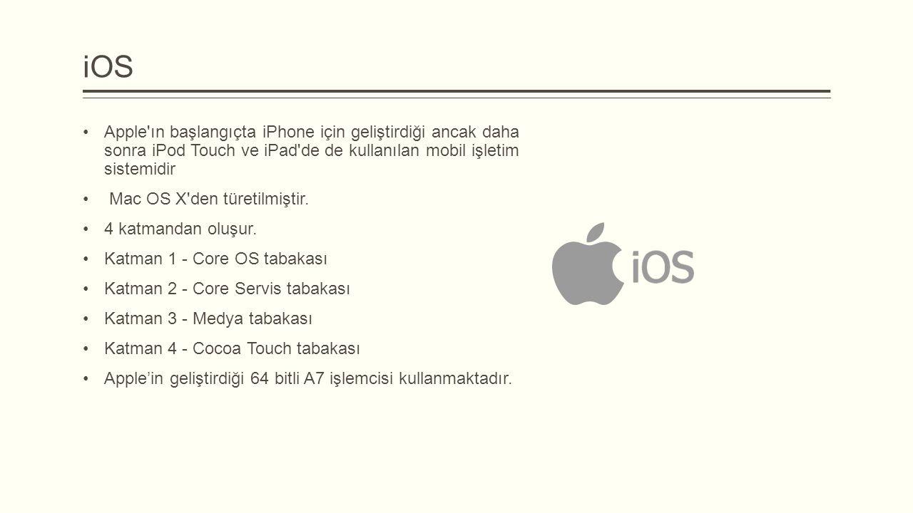 iOS Apple'ın başlangıçta iPhone için geliştirdiği ancak daha sonra iPod Touch ve iPad'de de kullanılan mobil işletim sistemidir Mac OS X'den türetilmi