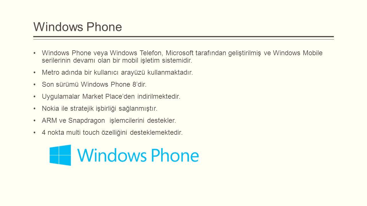 Windows Phone Windows Phone veya Windows Telefon, Microsoft tarafından geliştirilmiş ve Windows Mobile serilerinin devamı olan bir mobil işletim siste