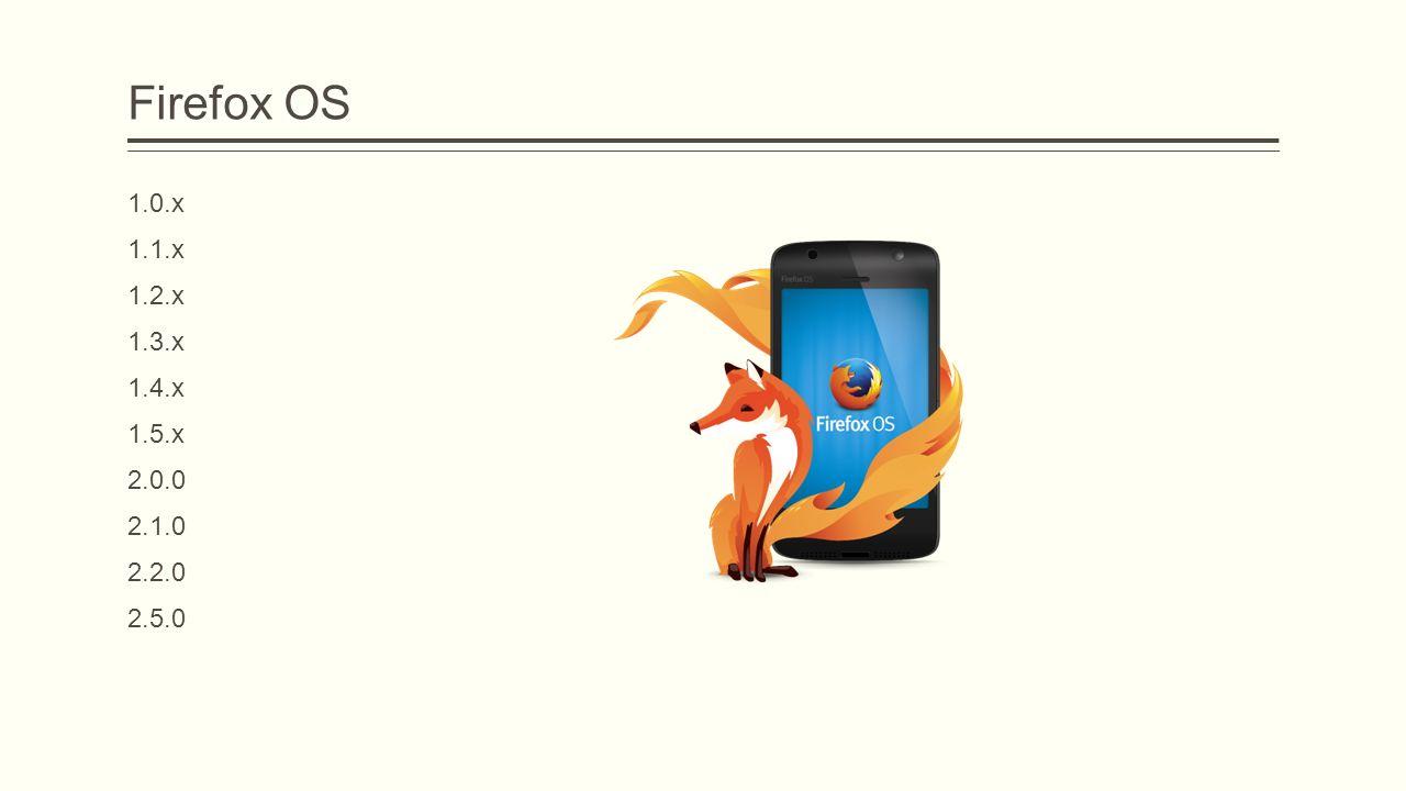 Firefox OS 1.0.x 1.1.x 1.2.x 1.3.x 1.4.x 1.5.x 2.0.0 2.1.0 2.2.0 2.5.0