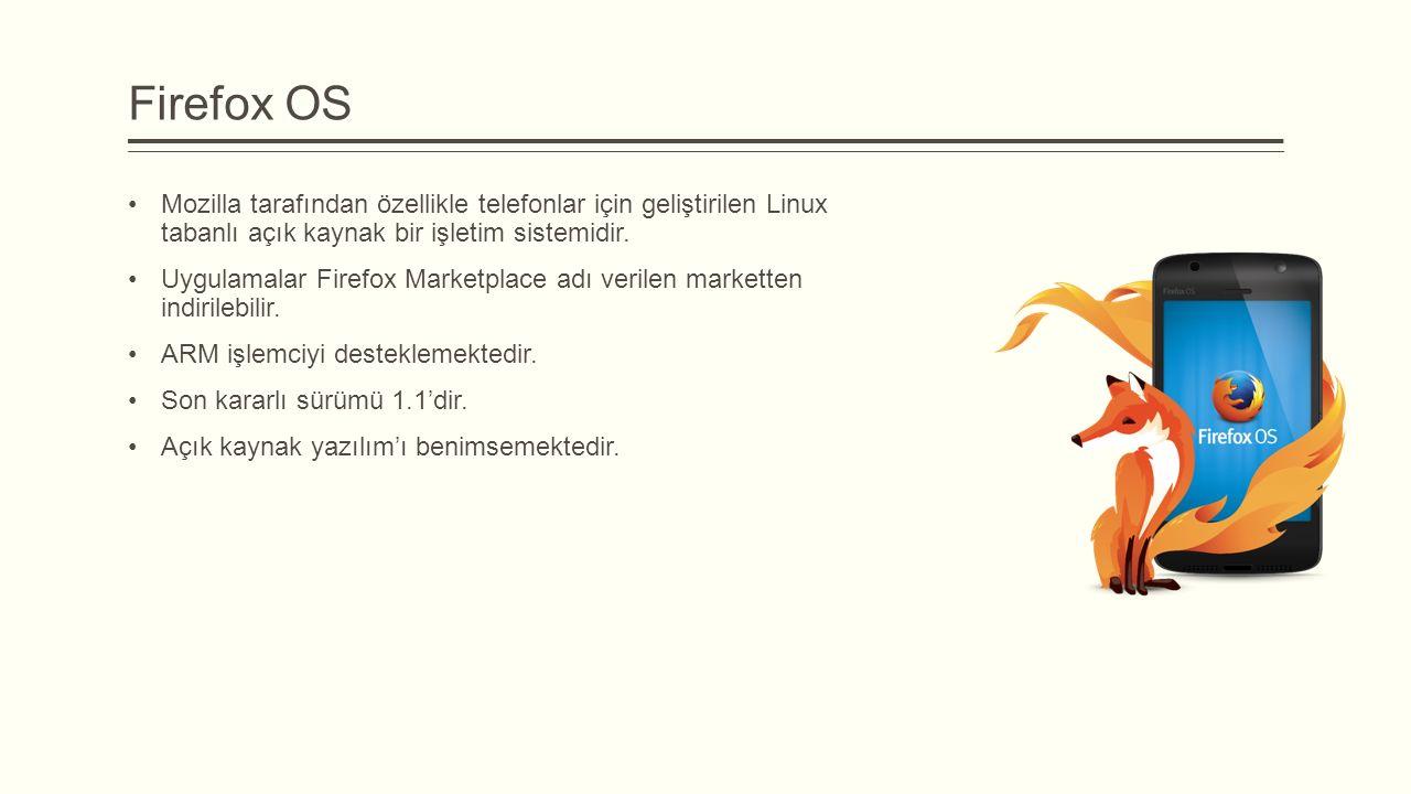 Firefox OS Mozilla tarafından özellikle telefonlar için geliştirilen Linux tabanlı açık kaynak bir işletim sistemidir. Uygulamalar Firefox Marketplace