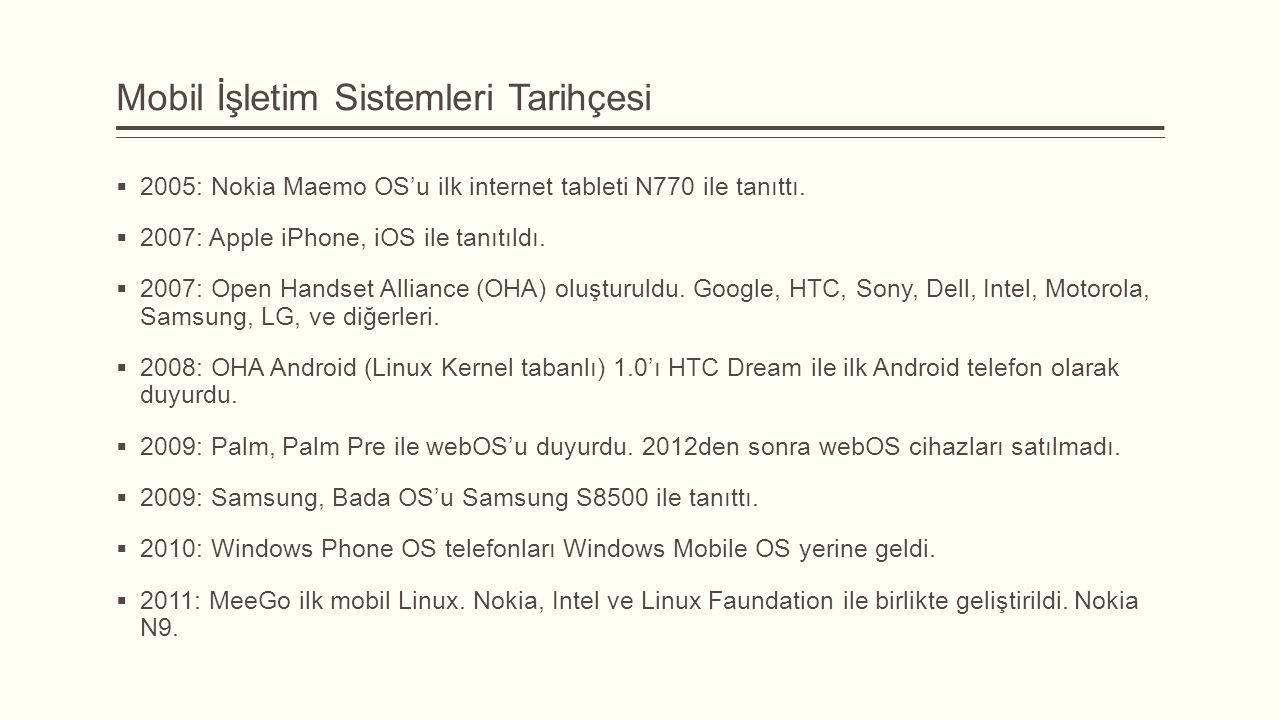 Mobil İşletim Sistemleri Tarihçesi  2005: Nokia Maemo OS'u ilk internet tableti N770 ile tanıttı.  2007: Apple iPhone, iOS ile tanıtıldı.  2007: Op