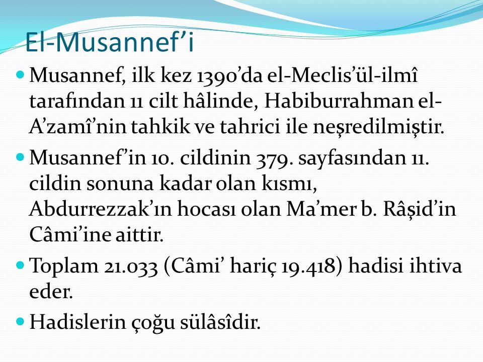 El-Musannef'i Musannef, ilk kez 1390'da el-Meclis'ül-ilmî tarafından 11 cilt hâlinde, Habiburrahman el- A'zamî'nin tahkik ve tahrici ile neşredilmiştir.