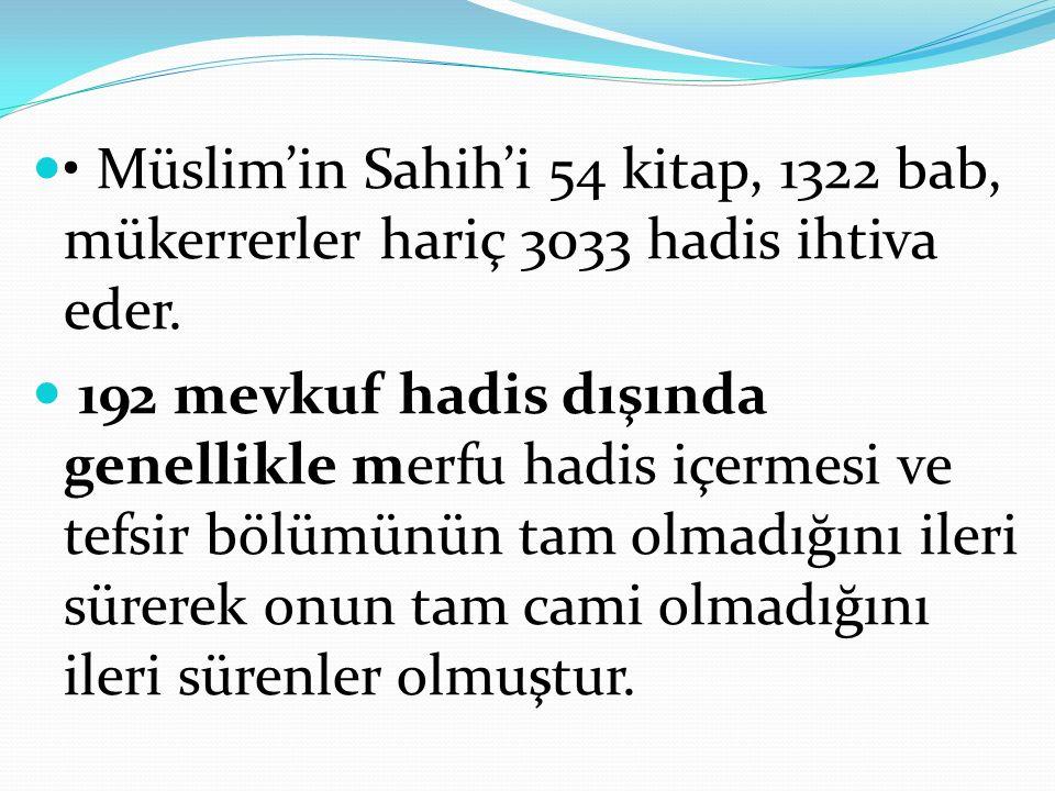 Müslim'in Sahih'i 54 kitap, 1322 bab, mükerrerler hariç 3033 hadis ihtiva eder.