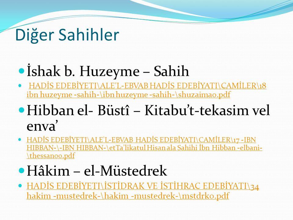 Diğer Sahihler İshak b.