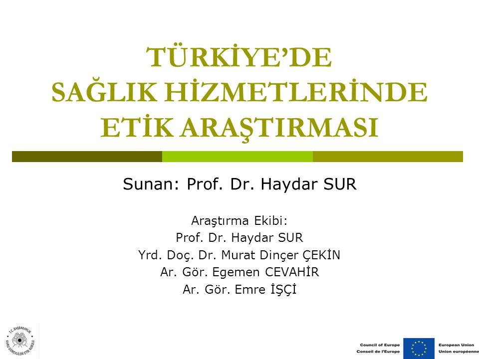 TÜRKİYE'DE SAĞLIK HİZMETLERİNDE ETİK ARAŞTIRMASI Sunan: Prof.