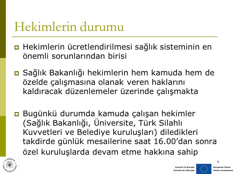Hekimlerin durumu  Hekimlerin ücretlendirilmesi sağlık sisteminin en önemli sorunlarından birisi  Sağlık Bakanlığı hekimlerin hem kamuda hem de özelde çalışmasına olanak veren haklarını kaldıracak düzenlemeler üzerinde çalışmakta  Bugünkü durumda kamuda çalışan hekimler (Sağlık Bakanlığı, Üniversite, Türk Silahlı Kuvvetleri ve Belediye kuruluşları) diledikleri takdirde günlük mesailerine saat 16.00'dan sonra özel kuruluşlarda devam etme hakkına sahip 6