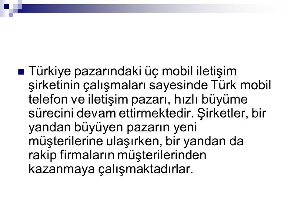 Türkiye pazarındaki üç mobil iletişim şirketinin çalışmaları sayesinde Türk mobil telefon ve iletişim pazarı, hızlı büyüme sürecini devam ettirmektedi