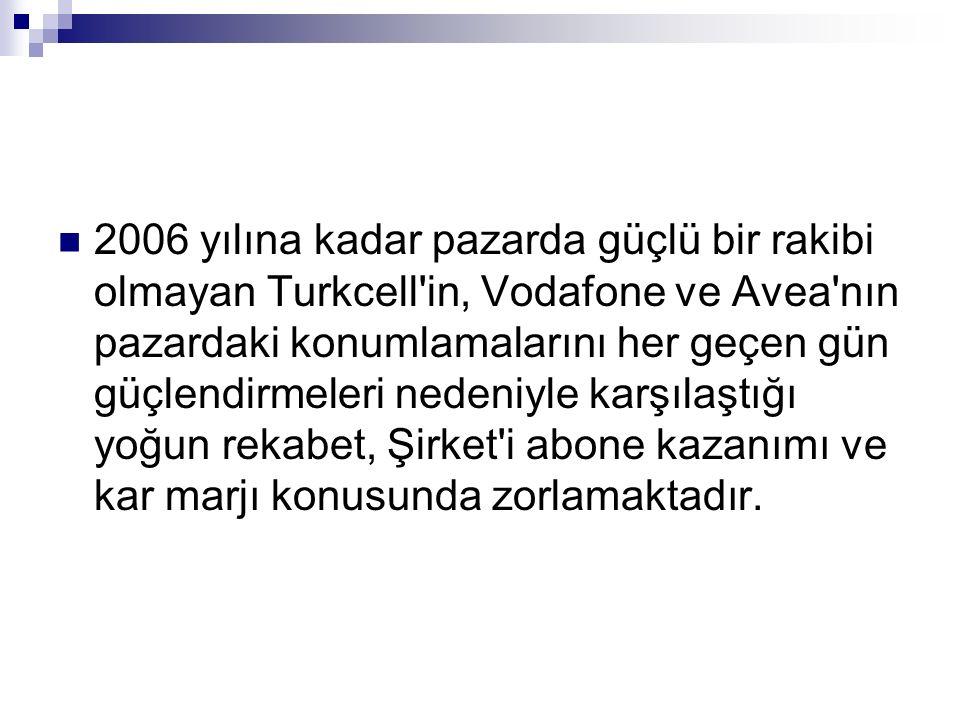 2006 yılına kadar pazarda güçlü bir rakibi olmayan Turkcell'in, Vodafone ve Avea'nın pazardaki konumlamalarını her geçen gün güçlendirmeleri nedeniyle